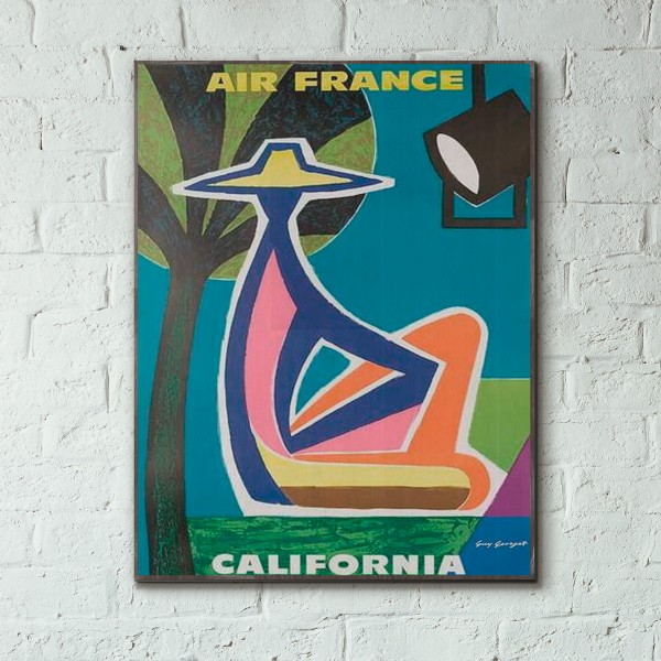 Air France - California 1963 Wooden Travel Poster