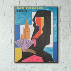 Air France - Spain 1963 Wooden Travel Poster