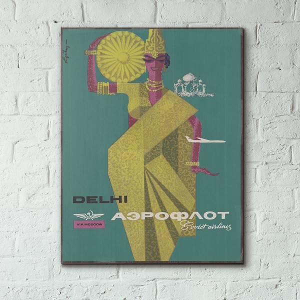Aeroflot - Delhi 1964 Wooden Travel Poster