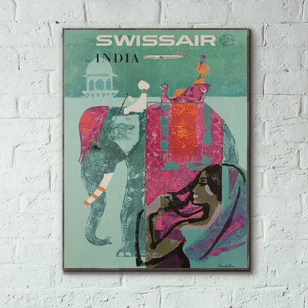 Swissair - India 1958 Wooden Travel Poster