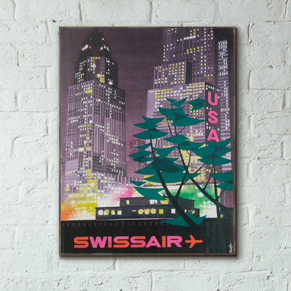 Swissair - USA 1959 Wooden Travel Poster