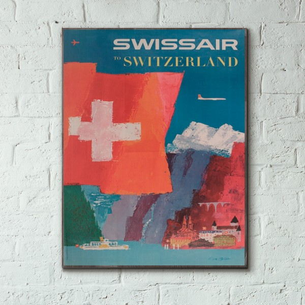 Swissair - Switzerland 1958 Wooden Travel Poster