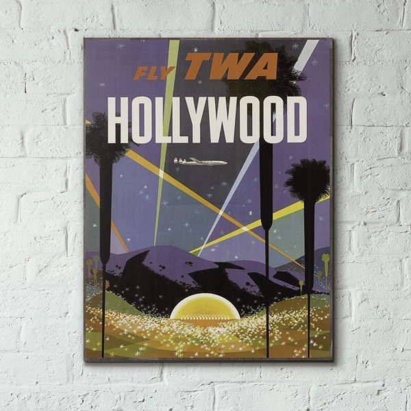 TWA - Hollywood 1957 Wooden Travel Poster