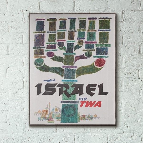 TWA - Israel 1957 Wooden Travel Poster