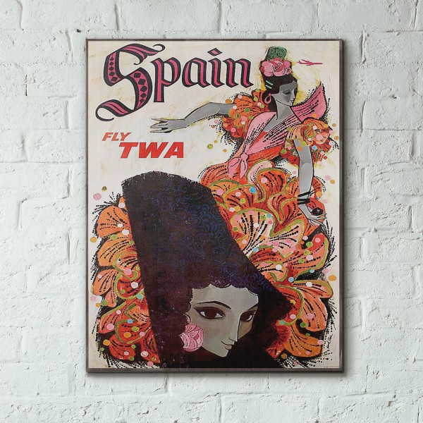 TWA - Spain 1959 Wooden Travel Poster
