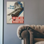 Women in the War WW2 Propaganda Wooden Poster