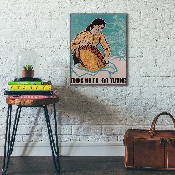 Woman with Soy 1959 Vietnamese War Propaganda Wooden Poster