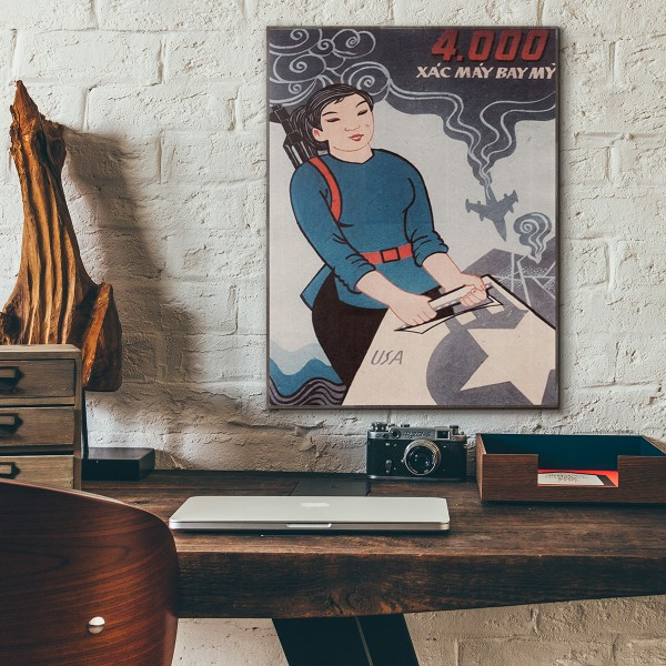 Woman with Aircraft 1967 Vietnamese War Propaganda Wooden Poster