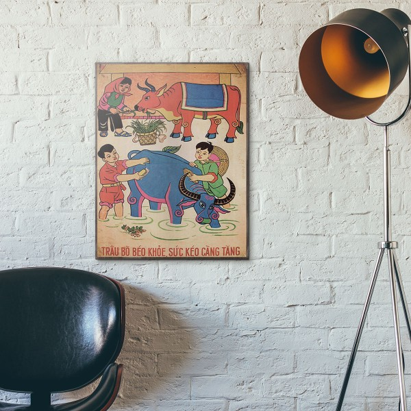 The Stronger the Buffalo Are, The Harder They Can Work 1959 Vietnamese Propaganda Wooden Poster