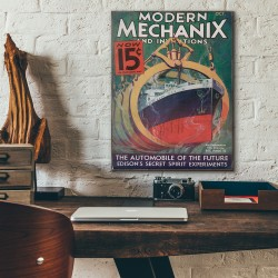 Modern Mechanix Magazine Cover from 1933 Wood Sign